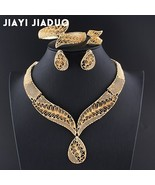 jiayijiaduo African beads jewelry sets Gold color Necklace leaf earring ... - $16.40