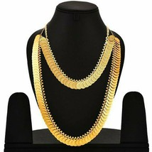 Brass Gold Plated Temple Jewellery Lakshmi Coin Long Haram Choker Necklace a309 - $19.79