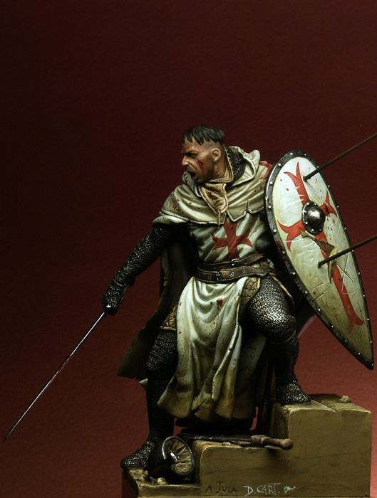 Unpainted Resin Model Kit Templar Knight XII ancient soldier figure Historical