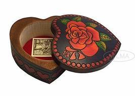 Large Heart Jewelry Box ROSE HEART LOVE Box Handmade Linden Wood Keepsake - €35,02 EUR