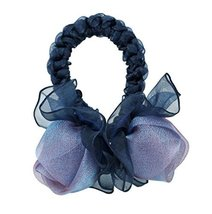 Elegant Rose Hair Rope Ponytail Holders Hair Headwear, Deep Blue