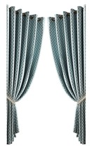 JACQUARD MOROCCAN-STYLE PATTERNED TEAL LINED RING TOP CURTAINS *9 SIZES* - $26.49+