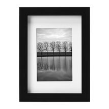 """WOOD FRAME Gallery 5"""" x 7"""" Matted for 3.5"""" x 5"""" Picture Frame, Black Set... - $46.99"""