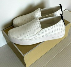 New Michael Kors Teddi Slip-On Nappa PU Perf sneakers Size 6 Optic White - $138.84