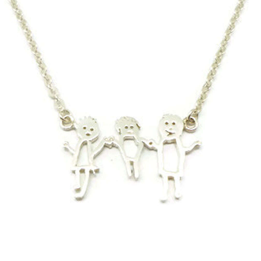 Silver Personalized Kid Art Drawling Necklace Choker  image 5