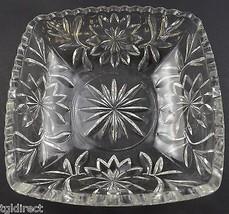"Hazel Atlas Clear Cut Glass Square Candy Dish 6.375"" Wide Vintage Glassware - $19.99"