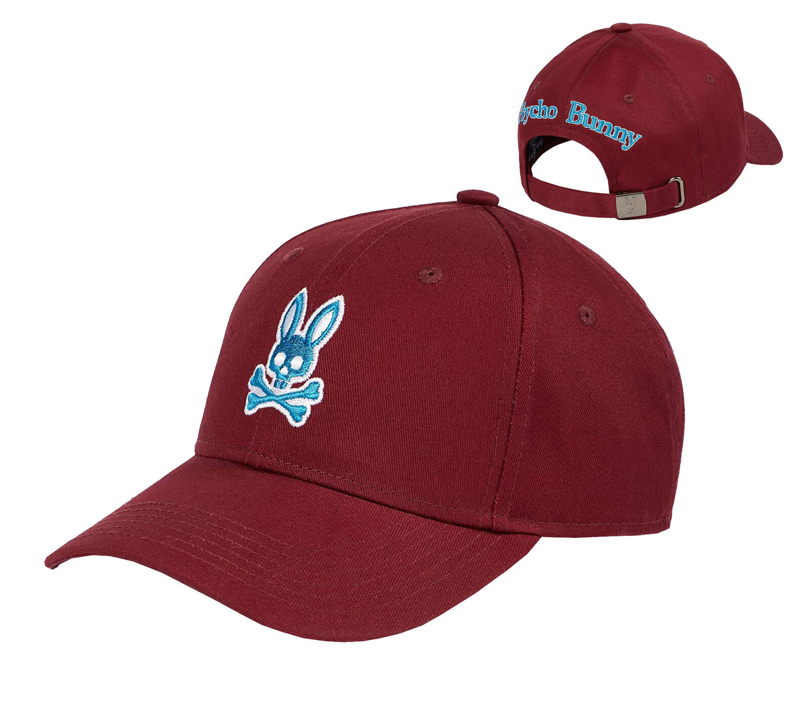 Psycho Bunny Men's Strapback Hat Embroidered Logo Cotton Sports Baseball Cap