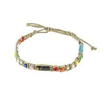 Hemp Anklet Bracelet with Multi Glass Beads, and Venetian Murano Glass T... - $21.99