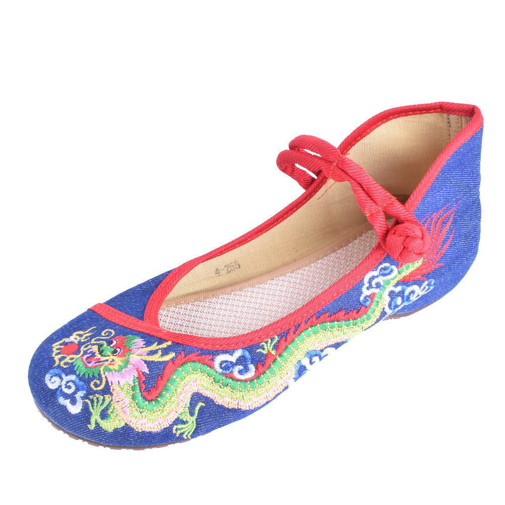 Kawaii Clothing Harajuku Shoes Chinese Japanese Zapatos Dragon Flats Red Blue