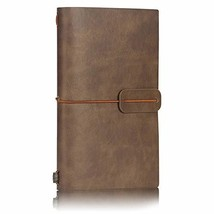 LEATHER Travel Journal Notebook Lined, Vintage Retro Soft Cover Journal,... - $11.28