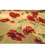 RJR Always in Bloom Orange/Red Poppies on Yellow Cotton Fabric  - $10.95
