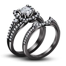 Wedding Bridal Ring Set White Diamond 10k Black Gold Plated 925 Sterling... - $95.99