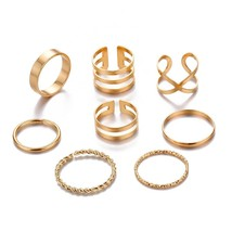 Vintage Gold Color Knuckle Rings Set For Women Geometric Round Twist Wea... - $8.94