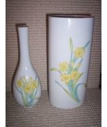 * 2 Otagiri Daffodil Vase Porcelain Gold Ring Vintage - $36.66