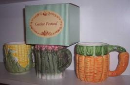 2 RUSS Garden Festival  Ceramic Corn and Carrot Mugs NEW - $19.76