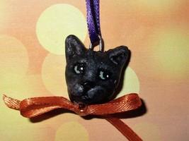 BLACK CAT CHARM Ooak Halloween Mini Tree Ornament pet holiday - €5,05 EUR