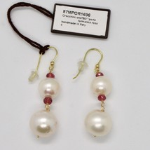 Yellow Gold Earrings 18k 750 Freshwater Pearls Pink Tourmaline Made in Italy image 2