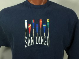 San Diego Sweatshirt California Unisex Navy Blue Large Vintage Cotton Blend - $19.09