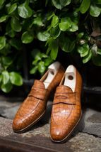 Handmade Men's Brown Crocodile Texture Slip Ons Loafer Shoes image 1