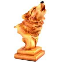 """Faux Wood Pattern Resin American Nature Howling Wolf Bust Small 4"""" Figurine - $6.23"""