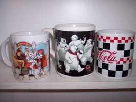 * 3 Coca Cola  Bear Bar Checkered Collector Mugs - $27.90