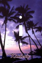 PERSONALIZED TROPICAL PARADISE PALM TREE PINK PURPLE SUNSET SWITCH PLATE... - $6.13