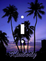 PERSONALIZED TROPICAL PALM TREE PURPLE BLUE SUNSET LIGHT SWITCH PLATE COVER - $6.13