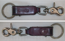Coach Leather Trigger Clip Double Key Fob Keychain Aubergine Burgundy Used - $19.00
