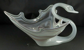 "Ooak Vintage Hand Blown Gray Swan Bird Art Glass Murano Style Center Piece 12"" - $130.00"