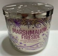 Bath and Body Works MARSHMALLOW FIRESIDE Cedarwood Vanilla 3 Wick Candle... - $23.71