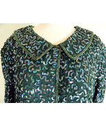 Green Sequin Beaded Evening Top sz 2X Special O... - $28.99