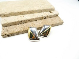 Vintage Signed Napier Silver Gold Mixed Metal Modernist Clip On Earrings... - $18.99