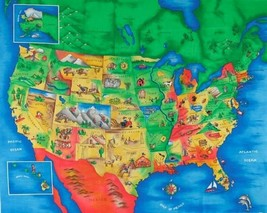 North America Map - Especially For You 4735 100% Cotton Fabric by the panel - $8.37