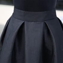 Women BLACK A-Line Ruffle Skirt Lady Taffeta High Waist Midi Pleated Party Skirt image 9