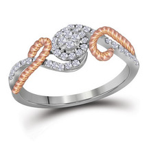 10kt White Gold Womens Round Diamond Rose-tone Rope Cluster Ring 1/4 Cttw - £212.81 GBP