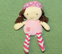 "GUND GIGGLING GIRLS PLUSH 6"" DOLL PINK WITH BROWN HAIR STRIPED STOCKINGS... - $7.70"