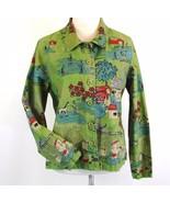 Christopher & Banks Size Petite L, PL Cotton Line Drawing Farm Country S... - $16.99