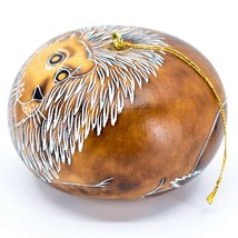 Handcrafted Carved Gourd Art Lion Big Cat Zoo Animal Ornament Made in Peru image 2