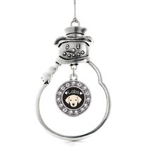Inspired Silver Lab Lover Circle Snowman Holiday Christmas Tree Ornament... - $14.69