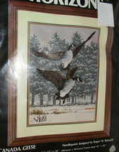 """Canada Geese Needlepoint Kit New Canadian Goose 12"""" x 16"""" Snow Flying Wool - $25.73"""