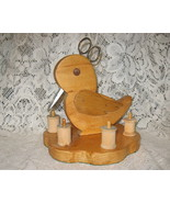 Sewing Thread Caddy-Handmade-Accessories-Wood-Duck Shape-1900's - $34.00