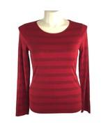 Talbots Med Top True Red Metallic Stripe Long Sl Tee Shirt Pullover Stre... - $14.50