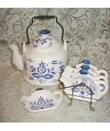 Teapot with 4 Matching Teabag/Spoon Rest Plates-Chadwick China-Japan - $24.00