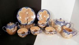 Moriyama Mori-machi Peach Luster Ware Teapot Tea Snack Set Japan 18-Pc - $59.39