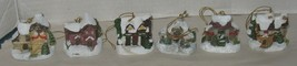 Set of 6 Vtg Christmas Houses Santas Workd Kurt Adler Chalkware Tree Orn... - $28.71