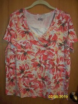 Basic Edition 1X Pink Floral Short Sleeve Top  - Studded - $4.99