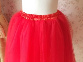 RED TULLE Party SKIRT A Line Red Bridesmaid Skirt Ballerina Skirt Plus Size XXXL image 3