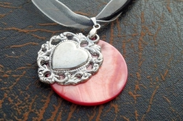 Black Leather White Lace Heart Necklace Hand Made In USA Birthday Gift f... - $22.00
