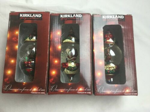 Kirkland Signature Waterglobe Ornaments Lot of 3 Christmas Tree Santa Drummer