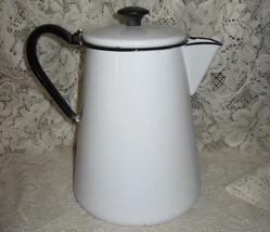 Enamelware- Camp Coffee Pot- White w/ Black Trim - $14.00